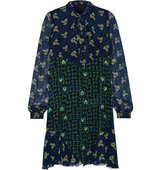 Anna Sui Pussy Bow Printed Silk Chiffon Mini Dress Midnight Blue Intl Shipping