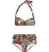 Anna Sui Rosa Mexicana Printed Halterneck Bikini Red Intl Shipping
