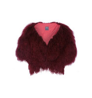 Anna Sui Shearling Gilet Burgundy Intl Shipping