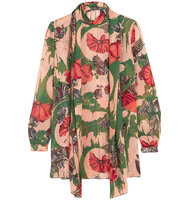 Anna Sui Woodblock Pussy Bow Silk Blouse Green Intl Shipping