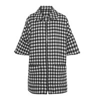 Apc Atelier De Production Et De Cration Granville Gingham Wool Blend Coat Black Intl Shipping