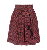 Apiece Apart Baja Printed Pleated Silk Crepon Mini Skirt Burgundy Intl Shipping