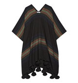 Apiece Apart Serape Tasseled Striped Alpaca Blend Poncho Black Intl Shipping
