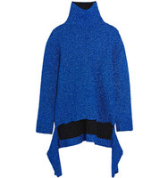 Balenciaga Draped Knitted Lam Turtleneck Sweater Blue Intl Shipping