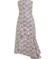 Balenciaga Embellished Embroidered Cotton Canvas Dress Silver Intl Shipping