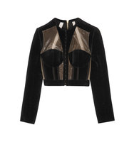 Balmain Cropped Paneled Velvet And Mesh Jacket Black Intl Shipping