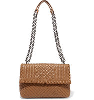 Bottega Veneta Olimpia Small Intrecciato Leather Shoulder Bag Tan Intl Shipping
