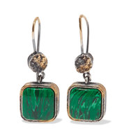 Bottega Veneta Oxidized Silver Malachite Earrings Intl Shipping