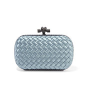Bottega Veneta The Knot Watersnake Trimmed Intrecciato Satin Clutch Teal Intl Shipping