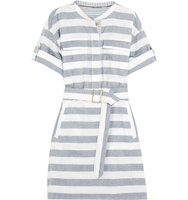 Burberry Belted Striped Cotton Shirt Dress Navy Intl Shipping