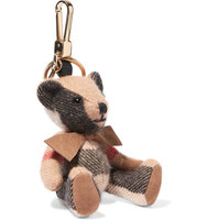 Burberry Checked Cashmere Keychain Beige Intl Shipping