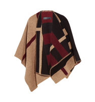 Burberry Checked Wool And Cashmere Blend Wrap Camel Intl Shipping