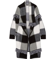 Burberry Fringed Checked Wool And Cashmere Blend Cardigan Black Intl Shipping