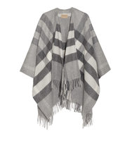 Burberry London Checked Cashmere And Merino Wool Blend Wrap Gray Intl Shipping