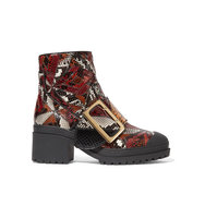 Burberry Patchwork Python Ankle Boots Red Intl Shipping