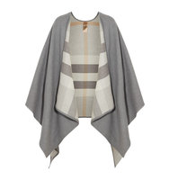 Burberry Reversible Checked Merino Wool Wrap Gray Intl Shipping