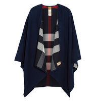 Burberry Reversible Checked Merino Wool Wrap Navy Intl Shipping