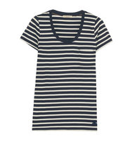 Burberry Striped Cotton Jersey T Shirt Midnight Blue Intl Shipping