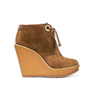 Burberry Suede Wedge Boots Tan Intl Shipping