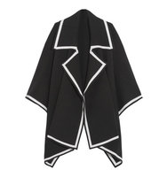Burberry Wool Blend Cape Black Intl Shipping