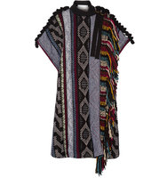 Chlo Fringed Embellished Wool Blend Poncho Black Intl Shipping