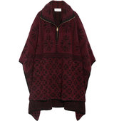 Chlo Oversized Wool And Cashmere Blend Terry Cape Burgundy Intl Shipping