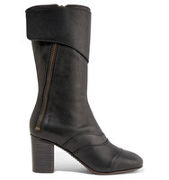 Chlo Paneled Leather Boots Black Intl Shipping