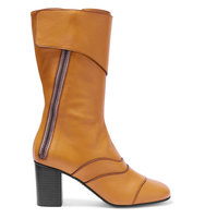 Chlo Paneled Leather Boots Mustard Intl Shipping