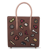 Christian Louboutin Paloma Small Embellished Textured Leather Tote Brown Intl Shipping
