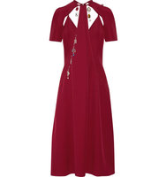Christopher Kane Cutout Embellished Crepe Midi Dress Burgundy Intl Shipping