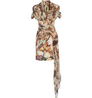 Christopher Kane Draped Floral Print Crepe And Silk Georgette Mini Dress Beige Intl Shipping