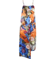 Christopher Kane Draped Floral Print Wool Satin Dress Blue Intl Shipping