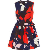 Delpozo Printed Cotton Peplum Dress Navy Intl Shipping
