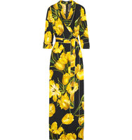 Dolce Gabbana Wrap Effect Floral Print Crepe Maxi Dress Yellow Intl Shipping