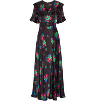 Duro Olowu Wrap Effect Floral Print Silk Satin Maxi Dress Black Intl Shipping