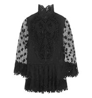 Elie Saab Cape Back Guipure Lace Top Black Intl Shipping