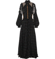 Elie Saab Lace Paneled Polka Dot Silk Blend Chiffon Gown Black Intl Shipping