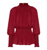 Elie Saab Ruched Silk Georgette Blouse Burgundy Intl Shipping