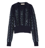 Emilio Pucci Distressed Sequin Embellished Cable Knit Wool Sweater Navy Intl Shipping