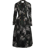 Erdem Baxter Double Breasted Metallic Jacquard Coat Black Intl Shipping