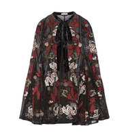 Erdem Flo Velvet Trimmed Embroidered Silk Organza Cape Black Intl Shipping