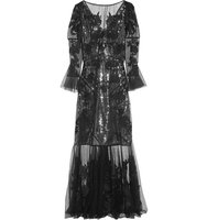 Erdem Leanne Embroidered Silk Organza And Swiss Dot Tulle Gown Black Intl Shipping