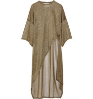Esteban Cortazar Asymmetric Metallic Ribbed Knit Tunic Gold Intl Shipping