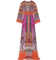 Etro Printed Silk Crepe Maxi Dress Pink Intl Shipping