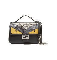 Fendi Double Baguette Micro Elaphe And Crocodile Paneled Leather Shoulder Bag Black Intl Shipping