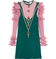 Gucci Embellished Wool Blend Mini Dress Teal Intl Shipping