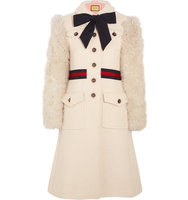 Gucci Faux Shearling Paneled Cotton Blend Tweed Coat Ivory Intl Shipping