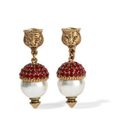 Gucci Gold Plated Crystal And Faux Pearl Clip Earrings Intl Shipping