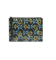 Gucci Printed Leather Pouch Black Intl Shipping