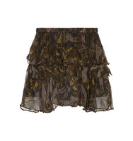 Iro Dicie Tiered Ruffled Camouflage Print Crepon Mini Skirt Black Intl Shipping